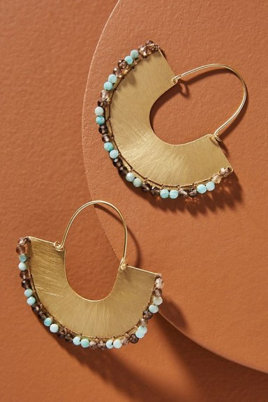 Isobel Stitched-Hoop Earrings Turquoise