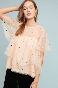 Eva Franco Tiered Polka Dot Top Peach