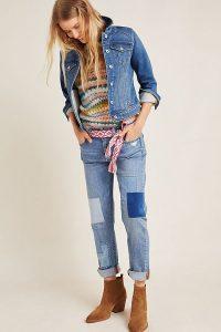Anthropologie Slim Boyfriend-Patchwork Jeans – Denim Light