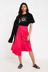 Gestuz Love Potion Pink Midi Skirt ~ asymmetric skirts