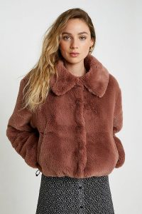 UO Faux Fur Crop Jacket in Brown ~ vintage look winter jackets