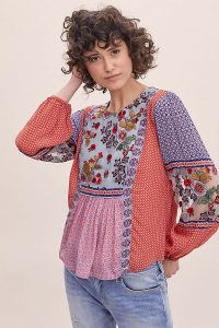 ANTHROPOLOGIE Elisabeth Embroidered-Peasant Blouse Red Motif