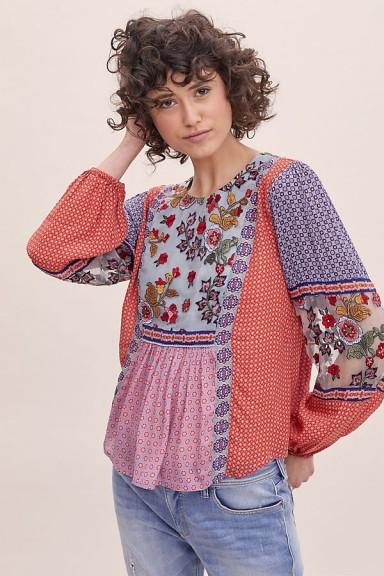 ANTHROPOLOGIE Elisabeth Embroidered-Peasant Blouse Red Motif