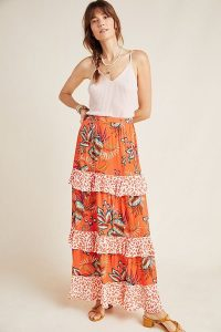 Farm x Anthropologie Jamima Floral-Printed A-line Midi Skirt