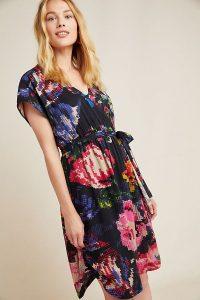 Anthropologie Astrid Needlepoint Mini Dress Black Motif
