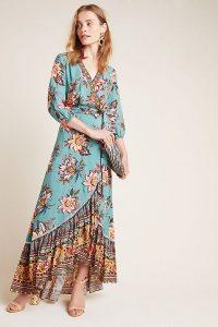 Farm Rio for Anthropologie Viera Wrap Dress Blue Green / floral maxi