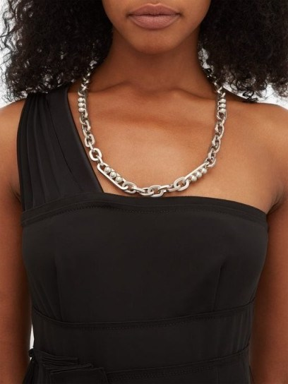 PRADA Ball and loop-chain necklace ~ silver tone necklaces - flipped