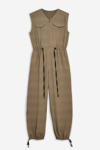 Topshop Boutique Balloon Leg Jumpsuit in Beige | cuffed hems