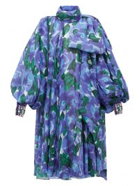 RICHARD QUINN Balloon-sleeve floral-print georgette dress ~ blue high neck dresses ~ crystal cuffs