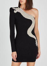 BALMAIN Black dragon-embellished jersey mini dress / one shoulder lbd