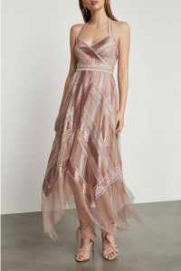 BCBG Metallic Striped Handkerchief Dress