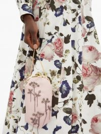 ERDEM Beaded Mikado-silk cross-body bag ~ light-pink beaded event bags