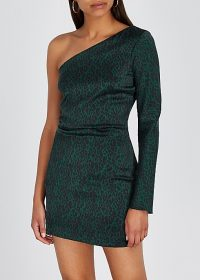 BEC & BRIDGE Animale Fever leopard-print silk mini dress / green one shoulder cocktail dresses
