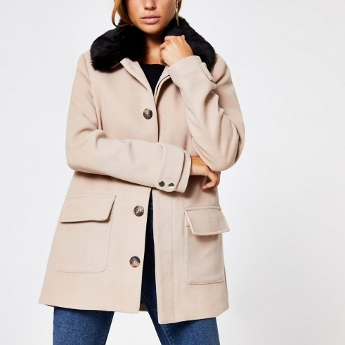 RIVER ISLAND Beige faux fur collar swing coat ~ neutral coats - flipped