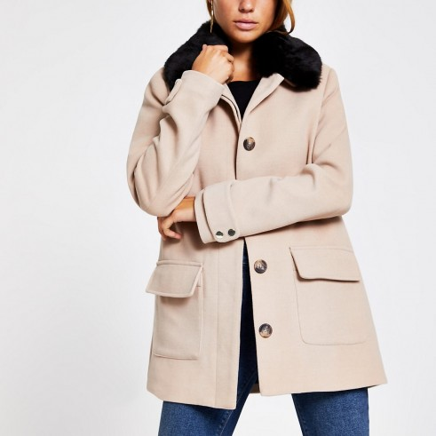RIVER ISLAND Beige faux fur collar swing coat ~ neutral coats