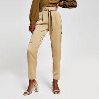 RIVER ISLAND Beige satin utility trousers