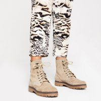 RIVER ISLAND Beige suede lace-up hiking boots