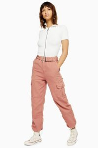 Topshop Belted Eyelet Utility Trousers in Pink
