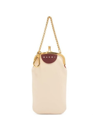 MARNI Bi-colour leather clutch in cream and tan   small colour block bags
