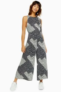 Topshop Black And White Print Wide Leg Jumpsuit | mixed-print summer jumpsuits