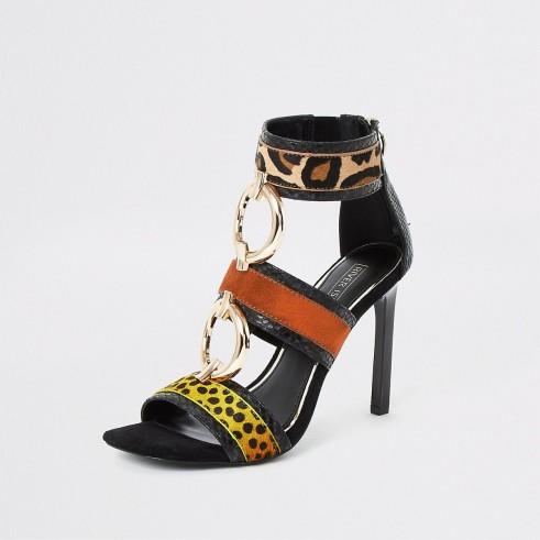 RIVER ISLAND Black animal print ring heeled sandals.