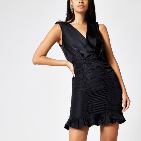 RIVER ISLAND Black bodycon taffeta dress ~ lbd - flipped