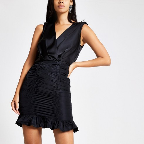 RIVER ISLAND Black bodycon taffeta dress ~ lbd