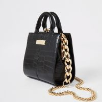 River Island Black croc mini grab handle bag