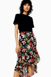 Topshop Black Floral High Low Skirt | asymmetric frill trimmed skirts
