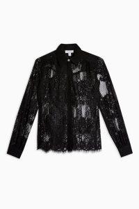 TOPSHOP Black Lace Shirt / sheer floral shirts