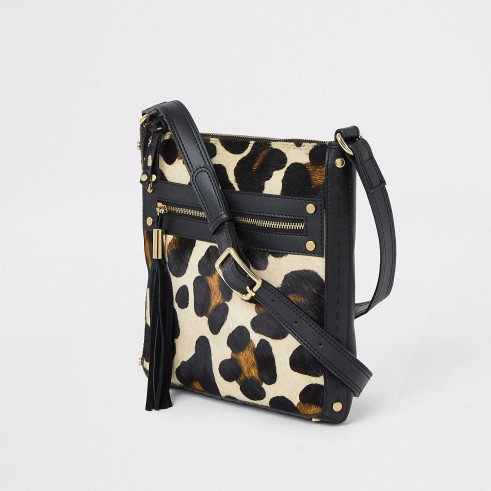 RIVER ISLAND Black leather animal print messenger bag