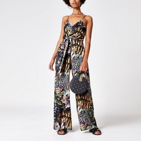 RIVER ISLAND Black mixed print knot front jumpsuit. - flipped