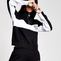 RIVER ISLAND Black mono half zip sweatshirt