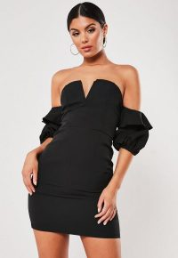 Missguided black ruffle sleeve bardot bodycon mini dress | strapless LBD