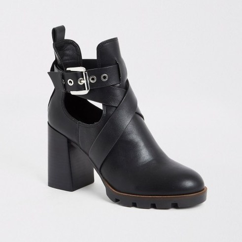 RIVER ISLAND Black strappy cutout block heel boots - flipped