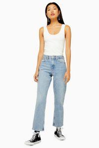 Topshop Bleach Clean Hem Straight Jeans | classic denim