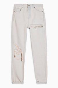 Topshop Bleach Pink Rip Mom Jeans   coloured denim