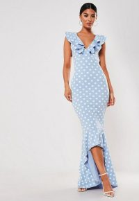 Missguided blue polka dot frill strap fishtail bodycon midi dress