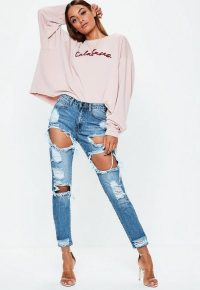 Missguided blue riot high rise ripped rigid jeans | destroyed denim