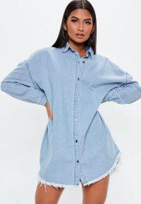 Missguided blue stonewash oversized denim shirt dress
