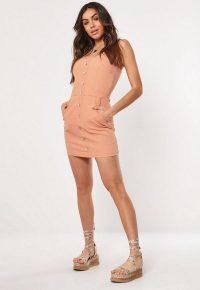 Missguided blush button through stretch denim mini dress
