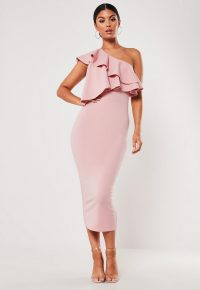 Missguided blush one shoulder ruffle bodycon midi dress