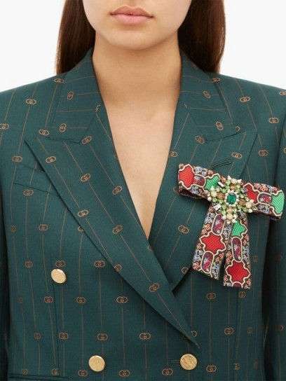 GUCCI Brocade crystal-embellished brooch ~ large jewelled brooches