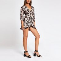 RIVER ISLAND Brown leopard print wrap front playsuit