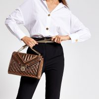 River Island Brown metallic quilted cross body bag