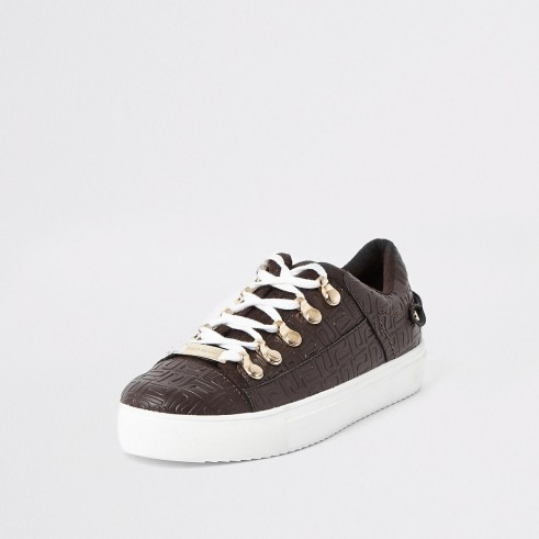 RIVER ISLAND Brown RI embossed lace-up trainers