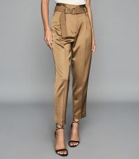 REISS BRYN SATIN BELTED STRAIGHT LEG TROUSERS GOLD