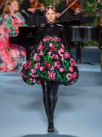 RICHARD QUINN Bubble-hem floral-sequinned dress ~ strapless statement dresses