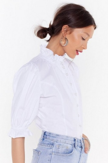 Nasty Gal Button Ups and Downs Pearl High Neck Blouse in White