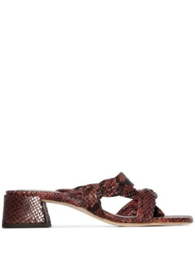 BY FAR snake-effect strappy mules